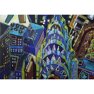 Large Original Acrylic Painting Neon Chrysler Building by Natalia Bessonova For Sale
