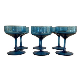 Vintage Peacock Blue Champagne Cocktail Coupe Glasses - Set of 6 For Sale