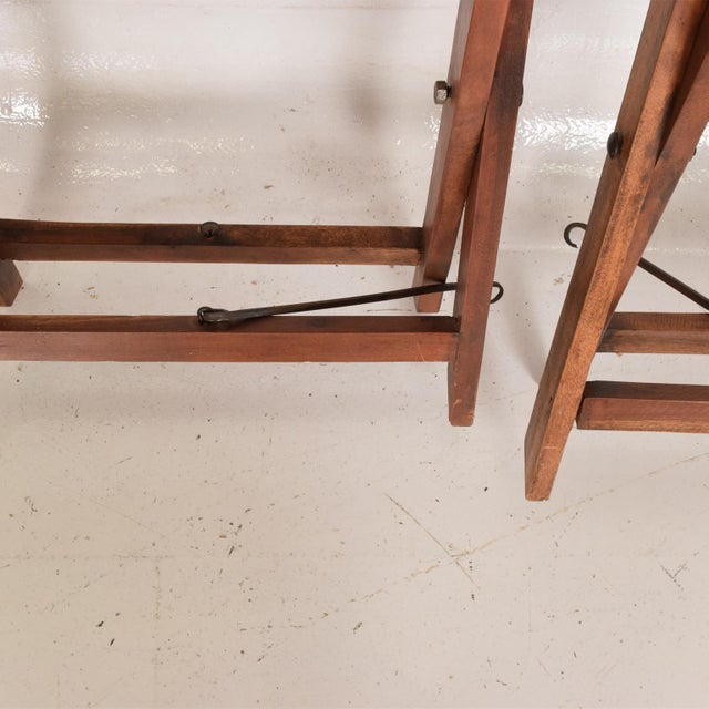 1980s Antique Decorative Leather & Mahogany Folding Wood Stools - a Pair For Sale - Image 5 of 7