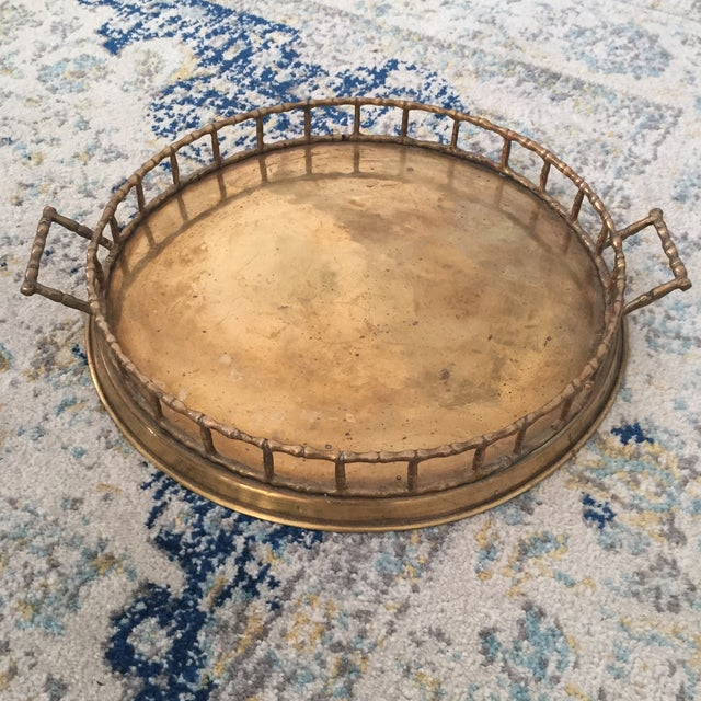 Brass Faux Bamboo Chinoiserie Tray - Image 9 of 9