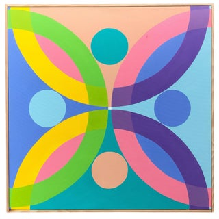 Colorful Hard Edge Geometric Abstract Framed Painting on Canvas by J. Marquis For Sale
