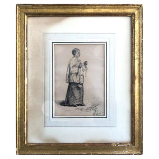 """1885 Minerva J. Chapman """"Choir Boy"""" Pen and Ink Drawing For Sale"""