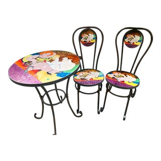 French Bistro Set With Stained Glass For Sale