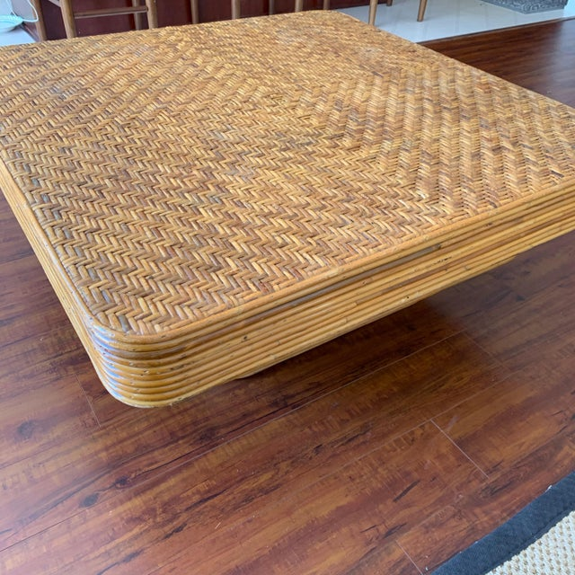 Mid-Century Pencil Reed Stacked Rattan Coffee Table For Sale - Image 9 of 10