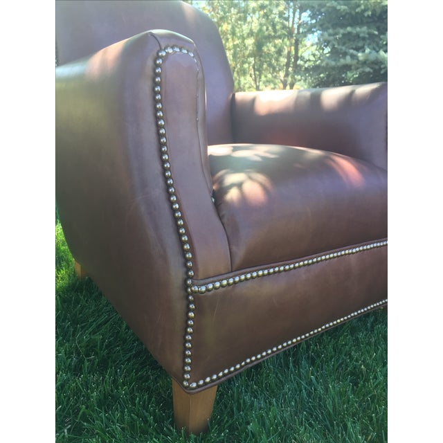 Brown Distressed Leather Chairs - A Pair For Sale - Image 8 of 11