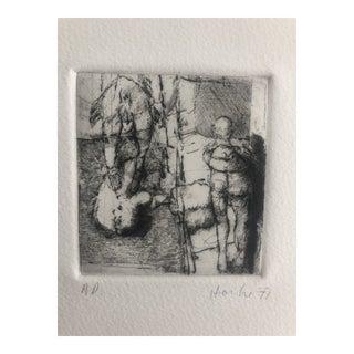 Modern Figurative Etching by Dellas Henke, 1977 For Sale