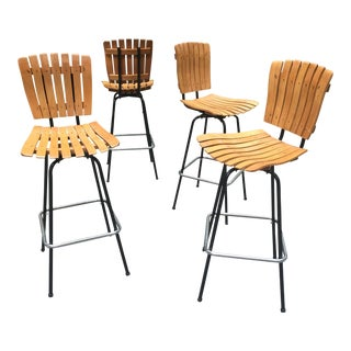 Vintage Arthur Umanoff Wood Slat Bar Stools ~ Set of 4 For Sale