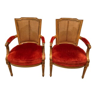 Mid Century French Provincial Chairs With Burnt Orange Velvet Upholstery - a Pair For Sale