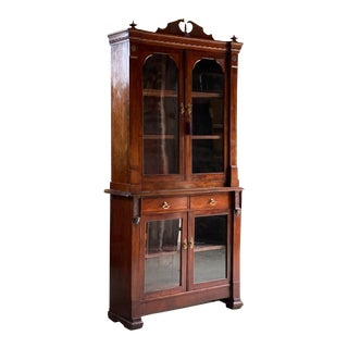 Antique Victorian Mahogany Glazed Library Bookcase For Sale