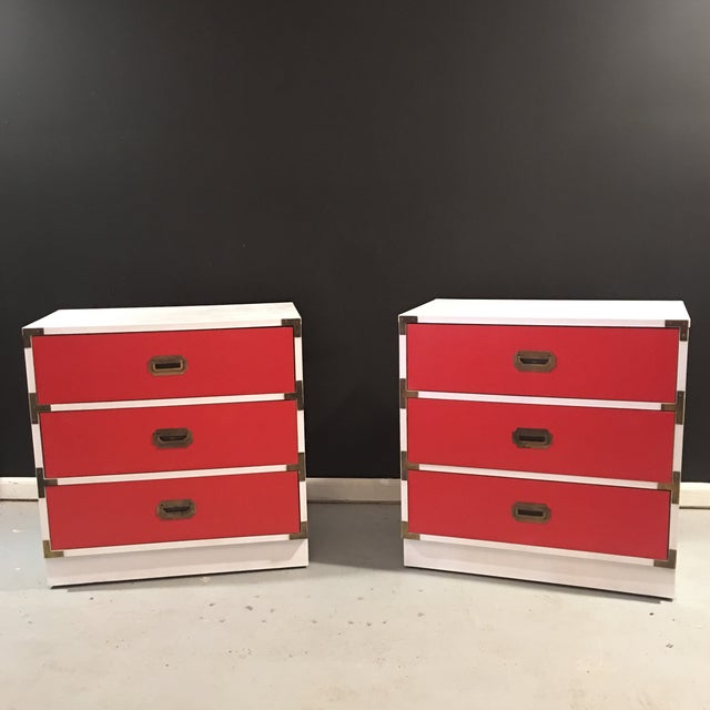 Vintage White & Orange Campaign Dressers - A Pair - Image 9 of 9