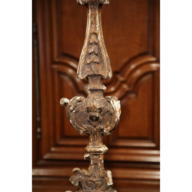 Tall 19th Century Italian Carved Giltwood Pricket Candlestick - Image 5 of 10