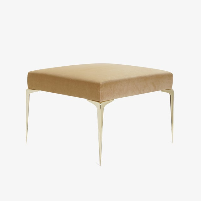 Montage Colette Brass Ottomans in Camel Velvet by Montage, Pair For Sale - Image 4 of 9