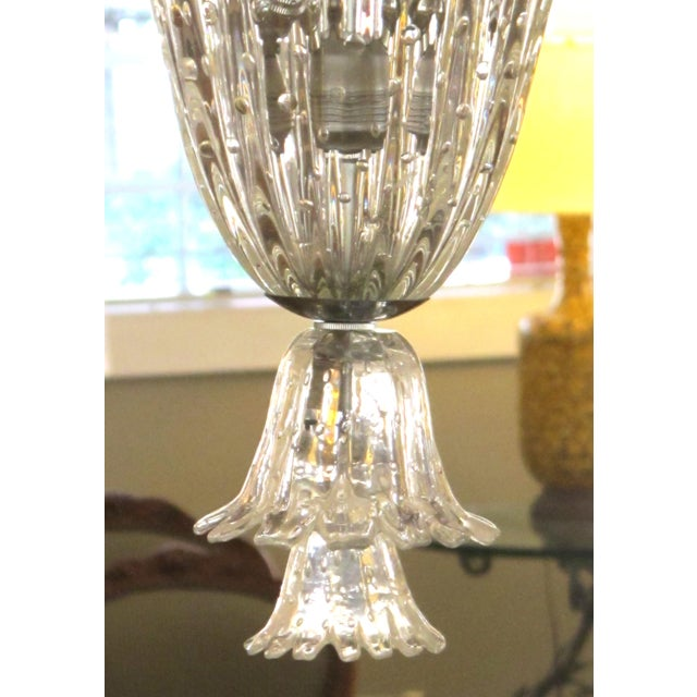 Mid 20th Century A large and superb quality Murano mid-century clear glass bullicante lantern/pendant light by Seguso For Sale - Image 5 of 6