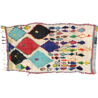 Tribal Style Vintage Moroccan Azilal Rug, Colorful Moroccan Berber Rug, 3'4 X 5'10 For Sale