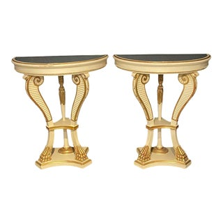 Parcel-Gilt Painted Demilune Console Tables, a Pair, Neoclassical For Sale