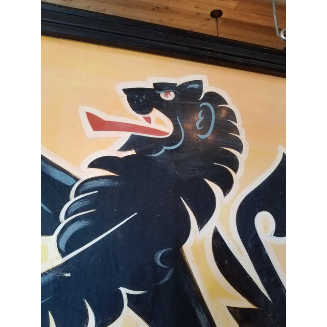 """English Double-Sided, Hand Painted Metal UK Pub Sign - """"Black Lion"""" For Sale - Image 3 of 13"""