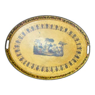 Antique 19th Century Tole Peinte Tray, Made in France For Sale