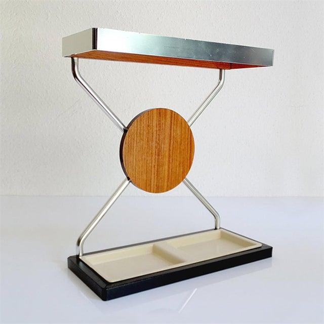 Danish Modern Vintage Danish Midcentury Umbrella Stand in Aluminum and Teak Wood 1960s in Modernist Panton Style For Sale - Image 3 of 10