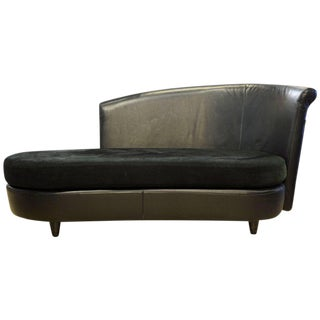 Vintage Art Deco Inspired Italian Leather Sofa or Chaise by Ferlea Italy For Sale