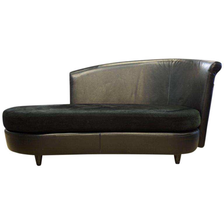 Merveilleux Vintage Art Deco Inspired Italian Leather Sofa Or Chaise By Ferlea Italy  For Sale