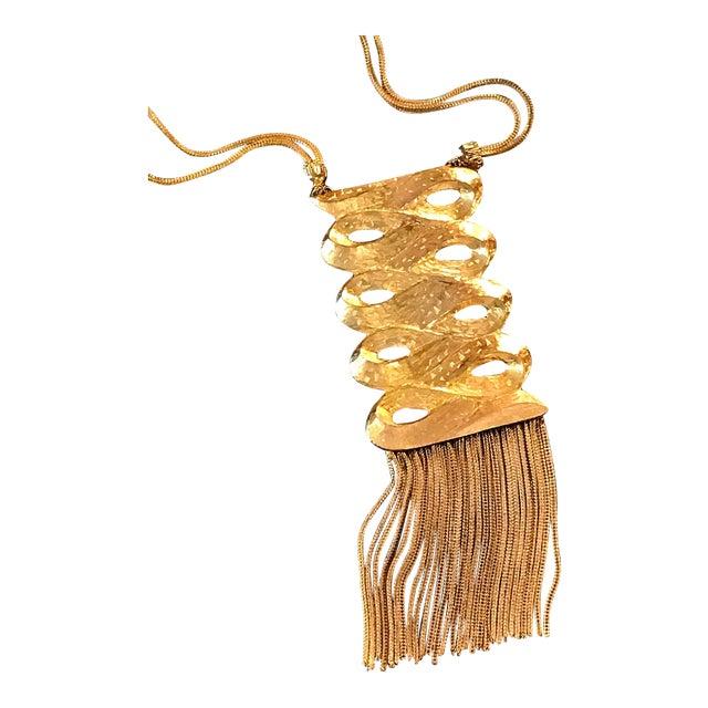 Vintage 1960s Gold Medallion Pendant Dangles Fringe Sandor Large Statement Necklace For Sale
