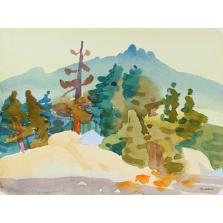 "Frederick Pomeroy ""Silver Lake Ii"" Watercolor Landscape Painting, 2001 2001 For Sale"