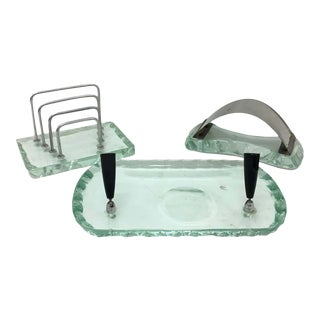1950s Italian Mid-Century Modern Fontana Arte Style Desk Accessories - Set of 3 For Sale