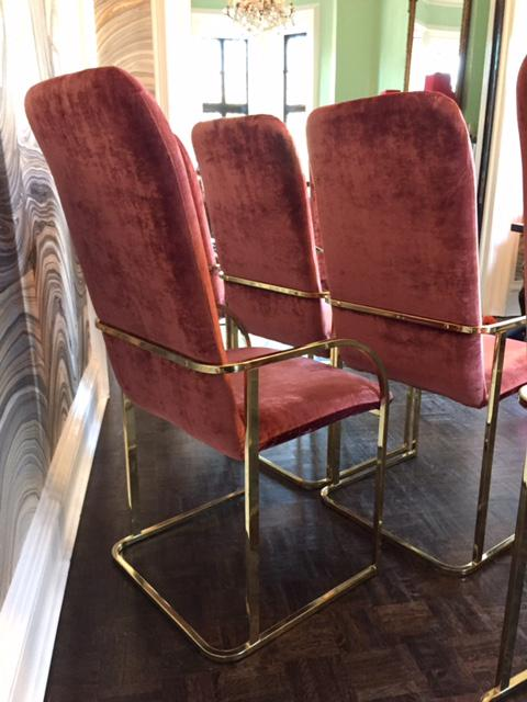 Milo Baughman Brass Dining Chairs   Set Of 6   Image 3 Of 11