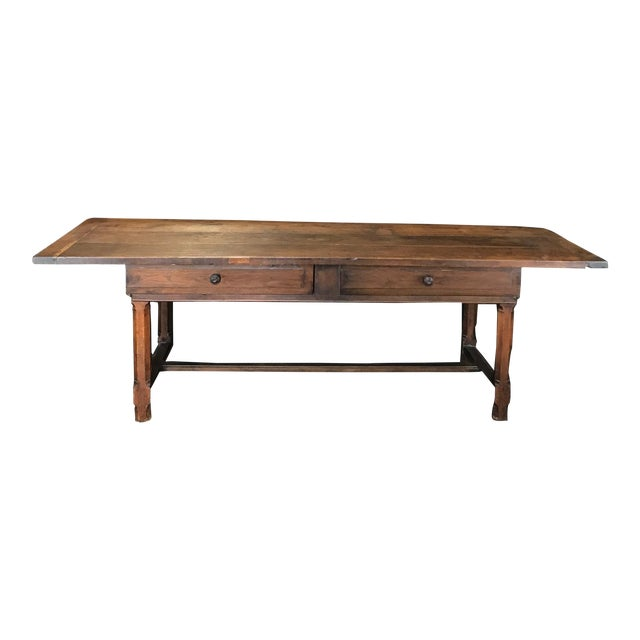 Early 19th Century Oak Farm Table With Sliding Drawers For Sale