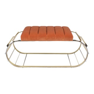 Brass Mid-Century Tufted Channel Bench For Sale