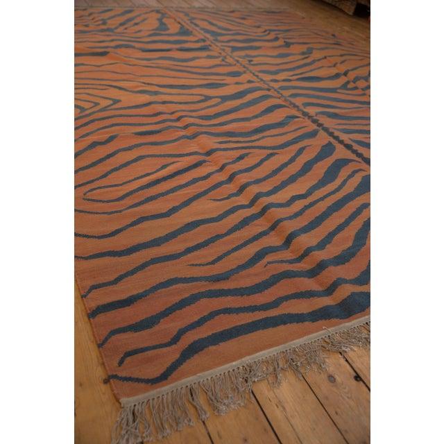 """Terra Cotta Vintage Indian Tiger Kilim Design Carpet - 9'1"""" X 12'1"""" For Sale - Image 8 of 9"""