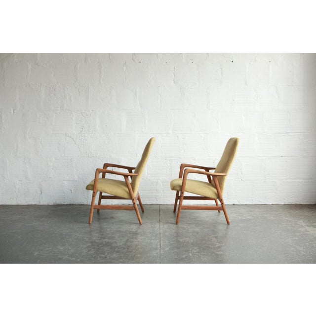 Mid-Century Modern Vintage Mid Century Alf Svensson Highback Lounge Chairs- A Pair For Sale - Image 3 of 8