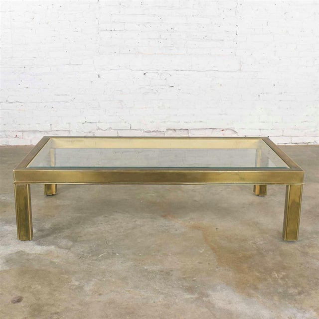 Modern Large Modern Brass & Glass Parsons Style Coffee or Cocktail Table Style Mastercraft For Sale - Image 3 of 13
