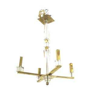1940s French Modernist Four Brass and Lucite Rectangular Arms Chandelier For Sale