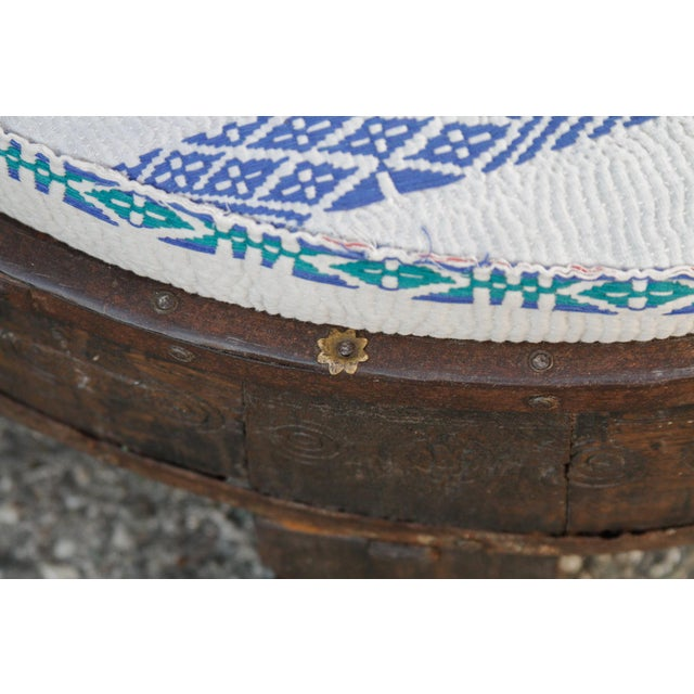 Blue Madhuri Carved Chakki Kantha Ottoman With Kantha Fabric Uphosltery For Sale - Image 8 of 12