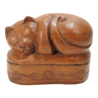 Vintage Hand Carved Solid Wood Sleeping Cat Statuary Box W Lid For Sale