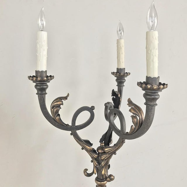 Antique Hand Forged Wrought Iron Floor Lamp | Chairish