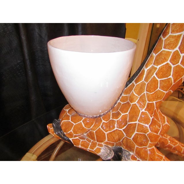 Large Italian Ceramic Giraffe Statue Planter For Sale - Image 5 of 7