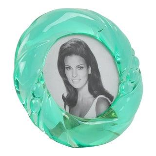 Italian 1970s Aqua Green Lucite Round Picture Photo Frame For Sale