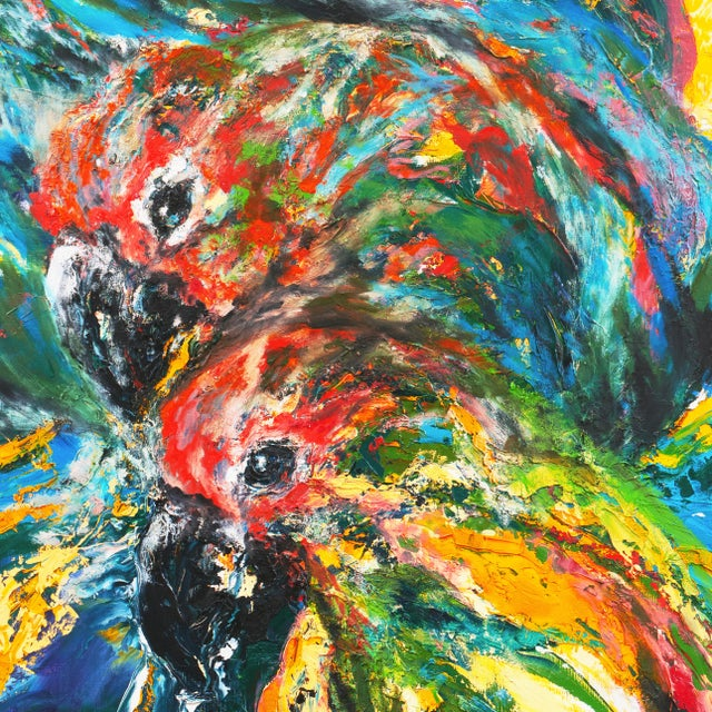 Abstract 'Pair of Parrots' by Rosemary Hornak, 1992; American Expressionist For Sale - Image 3 of 8
