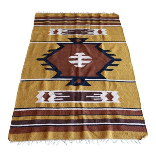 Mid Century Aztec Navajo Style Handwoven Abstract Graphic Wool Rug