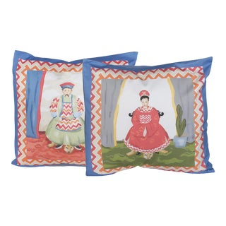 Dana Gibson Emperor and Empress Pillows - A Pair