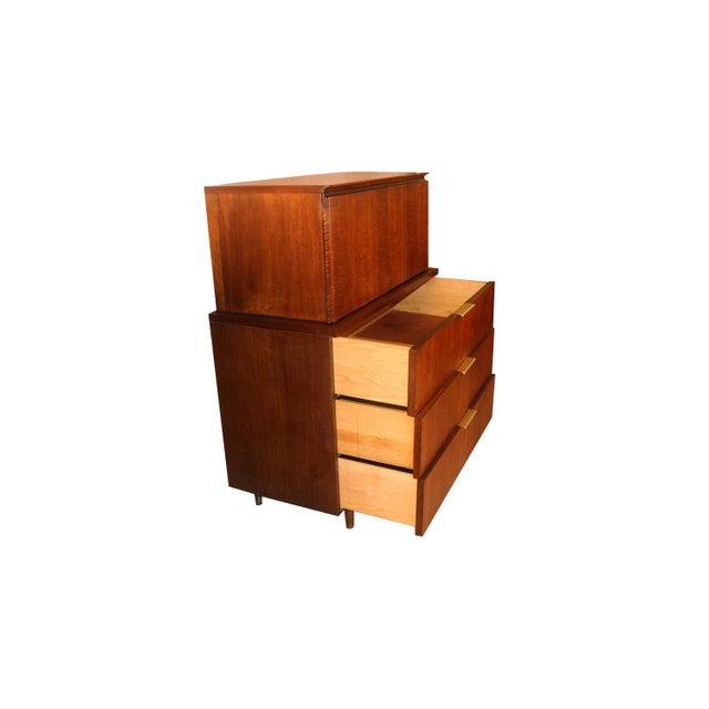 Brown John Stuart Mid Century Highboy Walnut Dresser For Sale - Image 8 of 13