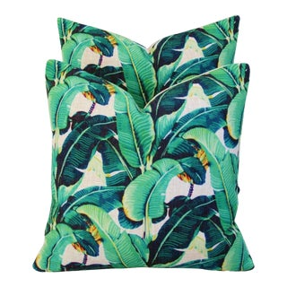 "Iconic Banana Leaf Patterned Feather/Down Pillows 17"" Square - A Pair For Sale"