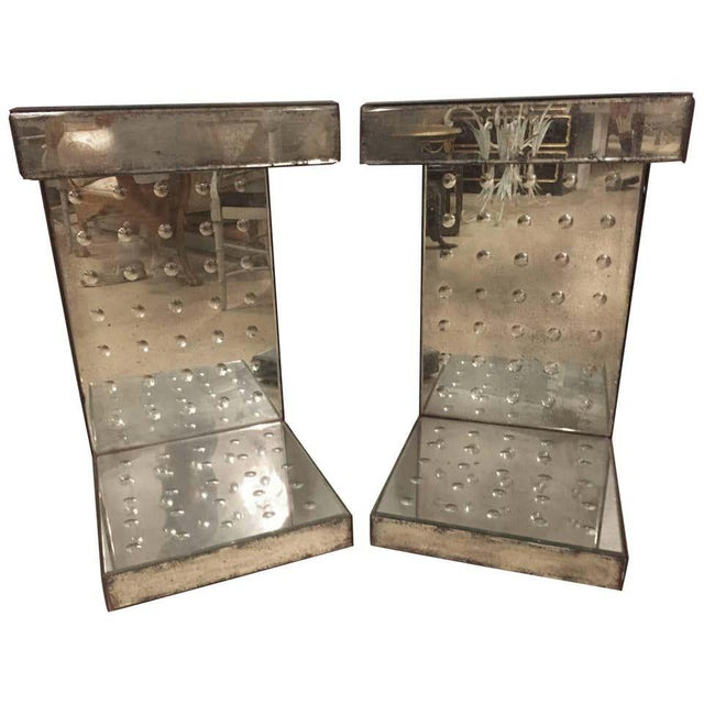 Glass Art Deco Style Bulls-Eye Mirrored Lamp, Side Tables or Pedestals - a Pair For Sale - Image 7 of 7