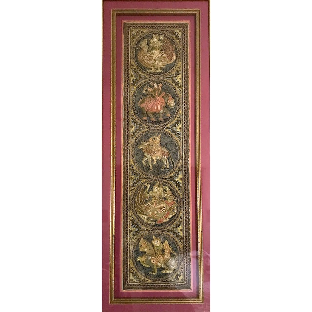 Magnificent large Burmese Kalaga tapestry set in a custom frame - a double rich gold/gilt frame with double coral/salmon...