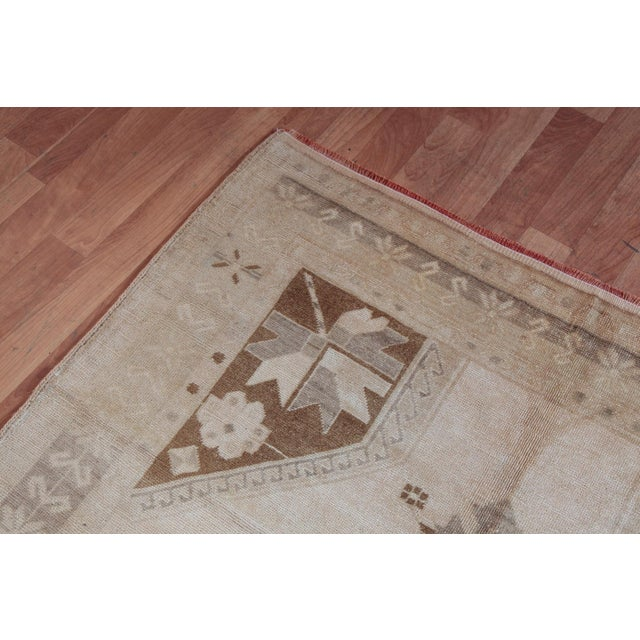 Textile Vintage Turkish Oushak Rug - 4′4″ × 9′6″ For Sale - Image 7 of 11