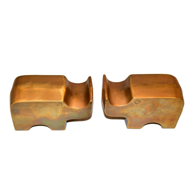 Gold Mid-Century Modern Bronze Rhinoceros Bookends in the Manner of Fratelli Mannelli For Sale - Image 8 of 11