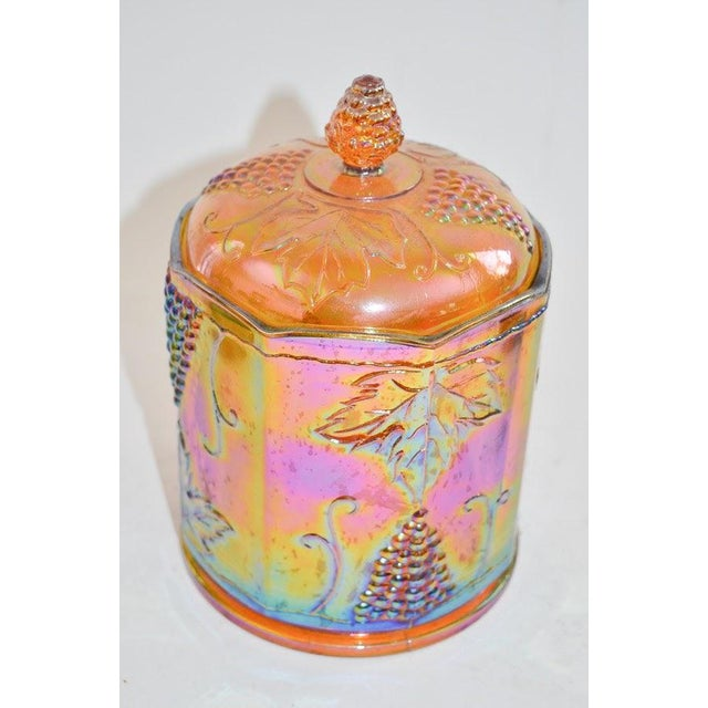 Lidded Iridescent Lime Green, Orange and Blue Carnival Glass Canisters - Set of 3 For Sale - Image 9 of 13