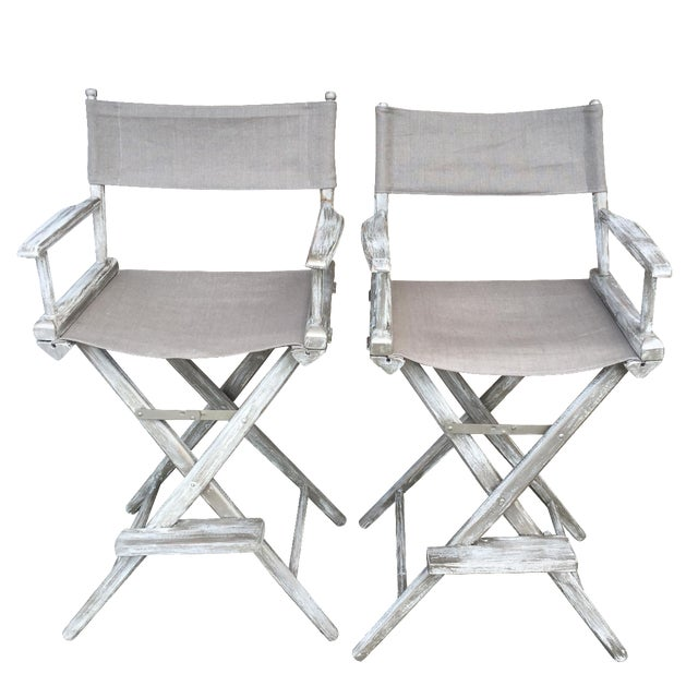 Whitewash Director's Chairs - A Pair - Image 1 of 6